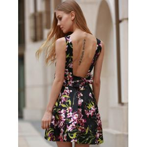 Chic V-Neck Sleeveless Floral Print Backless Women's Dress -