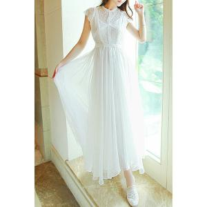 Ladylike Round Collar White Short Sleeve Dress For Women