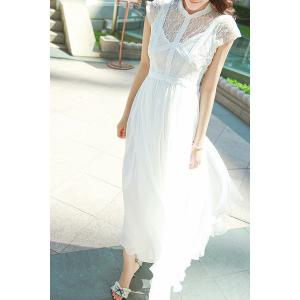 Ladylike Round Collar White Short Sleeve Dress For Women -