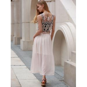 Cute Scoop Neck Sleeveless Hollow Out Chiffon Dress For Women - PINK M