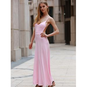 Floor Length Backless Casual Flowy Maxi Dress - PINK L