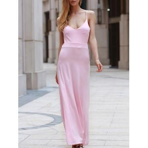 Floor Length Backless Casual Flowy Maxi Dress - Pink - L