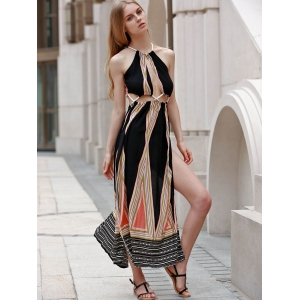 High Slit Backless Print Maxi Summer Beach Dress - COLORMIX S