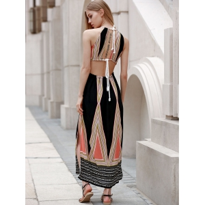 Sleeveless Backless Hollow Out Rope Design Maxi Club Dress - COLORMIX S