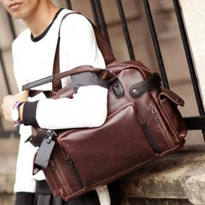 Vintage Style PU Leather and Solid Colour Design Briefcase For Men -