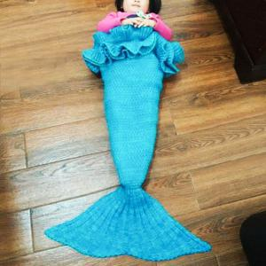 Chic Knitting Mermaid Design Baby Sleeping Bag Blanket - LAKE BLUE ONE SIZE(FIT SIZE XS TO M)