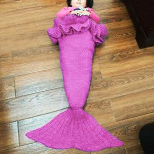 Chic Knitting Mermaid Design Baby Sleeping Bag Blanket - PURPLE ONE SIZE(FIT SIZE XS TO M)