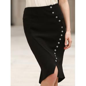 Anchor Printed Button Design High Waist Bodycon Skirt - Black - 4xl