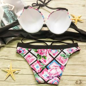Sexy Halter Floral Print Underwire   Bikini Set For Women - BLACK AND PINK S
