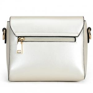 Trendy Solid Colour and Metal Design Crossbody Bag For Women -
