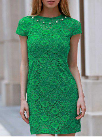 New Round Neck Short Sleeve Sheath Lace Dress GREEN M