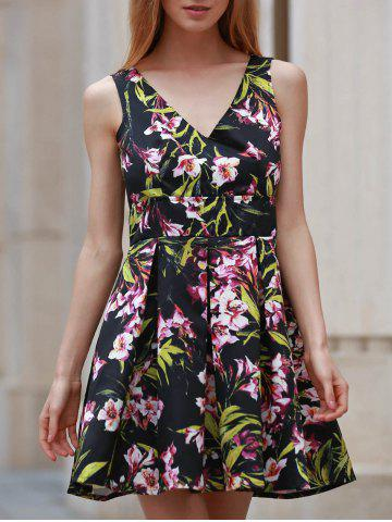 Outfits Chic V-Neck Sleeveless Floral Print Backless Women's Dress