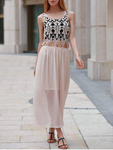 Best Cute Scoop Neck Sleeveless Hollow Out Chiffon Dress For Women PINK M