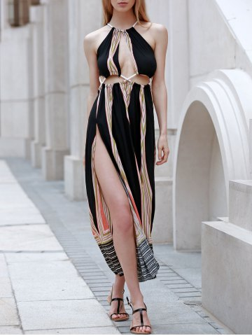 Discount High Slit Backless Print Maxi Summer Beach Dress COLORMIX S