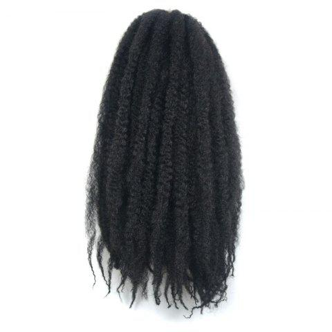 Sale Trendy Long Kanekalon Synthetic Fluffy Afro Kinky Curly Braided Hair Extension For Women #1B