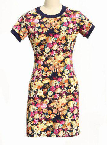 Outfit Stylish Round Neck Short Sleeve Bodycon Full Flower Pattern Dress For Women