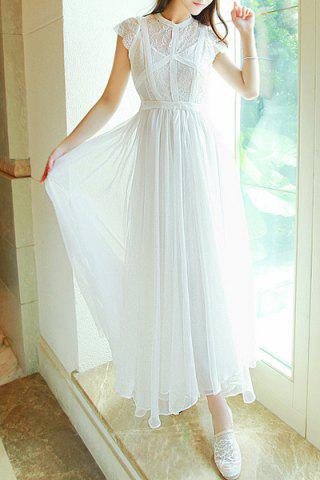 Store Ladylike Round Collar White Short Sleeve Dress For Women