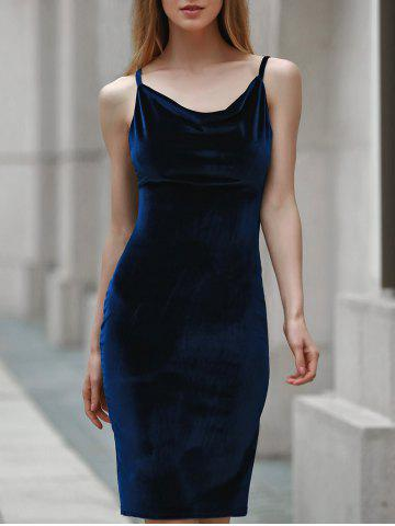 Cheap Velvet Backless Slip Cocktail Club Dress - XL CADETBLUE Mobile