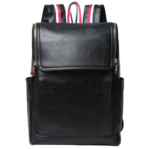 Latest Retro PU Leather and Solid Color Design Backpack For Men - BLACK  Mobile