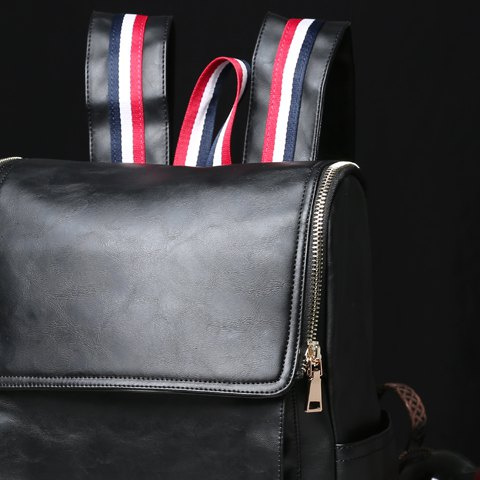 Shops Retro PU Leather and Solid Color Design Backpack For Men - BLACK  Mobile