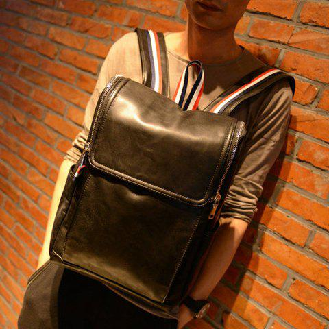 Affordable Retro PU Leather and Solid Color Design Backpack For Men - BLACK  Mobile