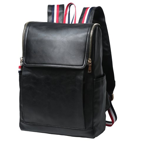 New Retro PU Leather and Solid Color Design Backpack For Men - BLACK  Mobile