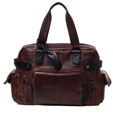Shops Vintage Style PU Leather and Solid Colour Design Briefcase For Men