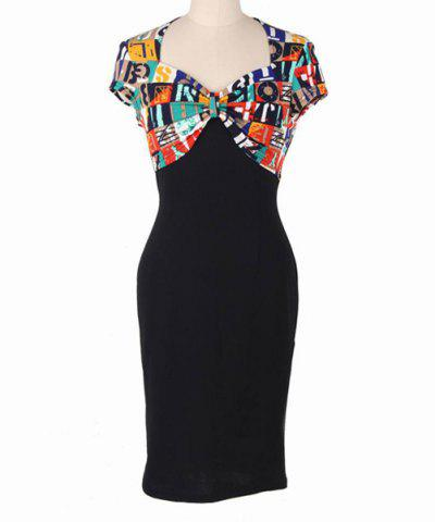 Sale Elegant Sweetheart Neck Cap Sleeve Colorful Letter Print Sheathy Dress For Women
