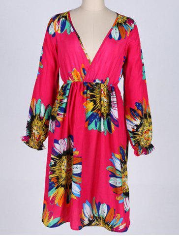4XL ROSE Plunging Neck Long Sleeve Floral Print Plus Size Dress