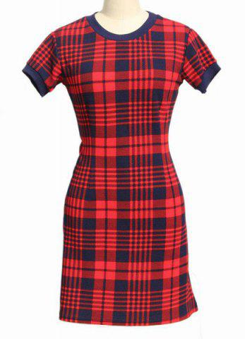 Affordable Stylish Round Neck Short Sleeve Bodycon Black and Red Gingham Dress For Women