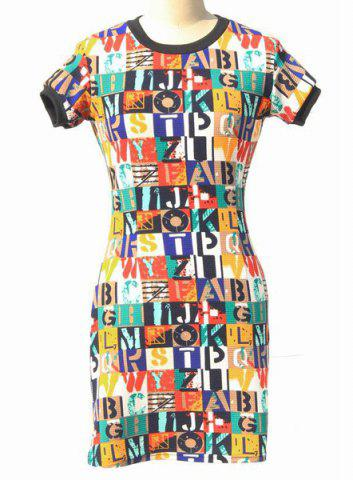 Discount Stylish Round Neck Short Sleeve Bodycon Colorful Letter Pattern Dress For Women