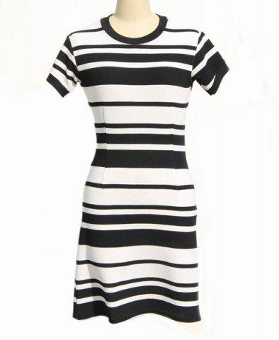 Fancy Classic Round Neck Short Sleeve Bodycon Black and White Stripe Dress For Women