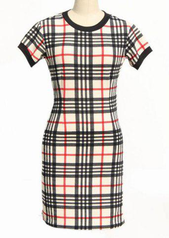 Best Classic Round Neck Short Sleeve Bodycon Gingham Dress For Women BLACK AND WHITE AND RED S