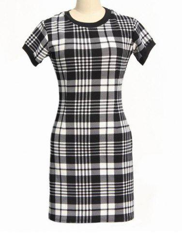 Unique Classic Round Neck Short Sleeve Bodycon Black and White Plaid Dress For Women