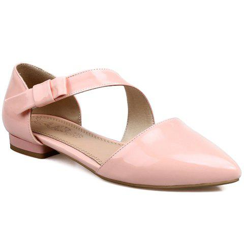 Cheap Fresh Style Patent Leather and Solid Color Design Flat Shoes For Women