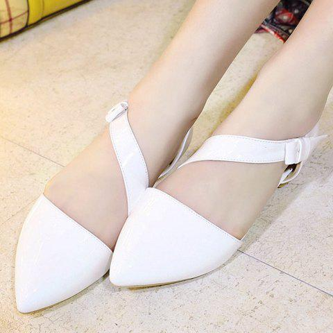 Cheap Fresh Style Patent Leather and Solid Color Design Flat Shoes For Women - 37 WHITE Mobile