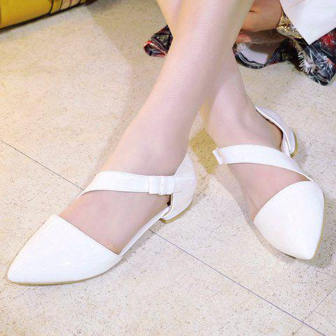 Sale Fresh Style Patent Leather and Solid Color Design Flat Shoes For Women - 37 WHITE Mobile