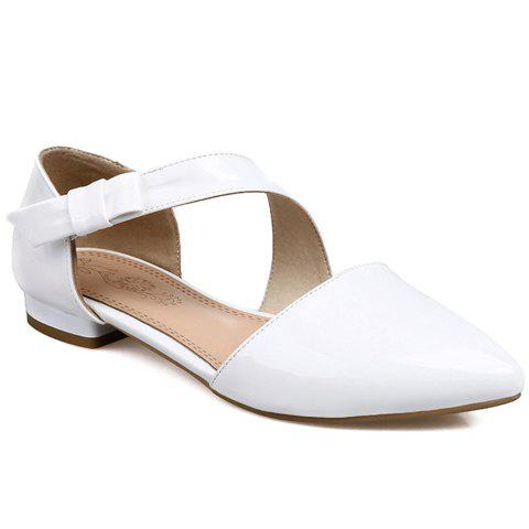 Buy Fresh Style Patent Leather Solid Color Design Flat Shoes Women