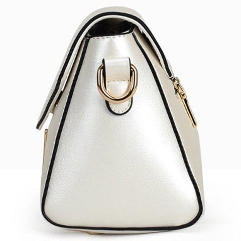 Chic Trendy Solid Colour and Metal Design Crossbody Bag For Women - LIGHT PINK  Mobile