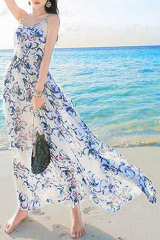 Unique Backless Long Floral Swing Beach Slip Dress - M COLORMIX Mobile