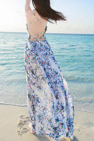 Buy Backless Long Floral Swing Beach Slip Dress - M COLORMIX Mobile