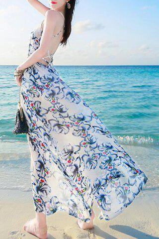 Latest Backless Long Floral Swing Beach Slip Dress - L COLORMIX Mobile
