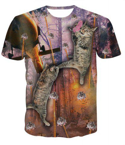 Shops Fashion Pullover Round Collar Mouse Cat Printed T-Shirt For Men