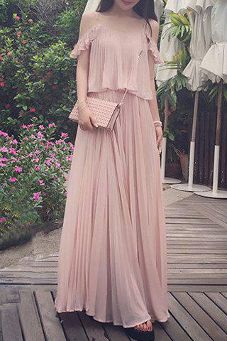 Spaghetti Strap Ruffled Chiffon Dress - SHALLOW PINK S