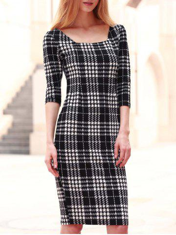 Unique Chic Square Neck 3/4 Sleeve Bodycon Women's Dress BLACK S