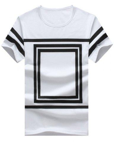 Outfit Square Printed Round Neck Short Sleeve T-Shirt For Men