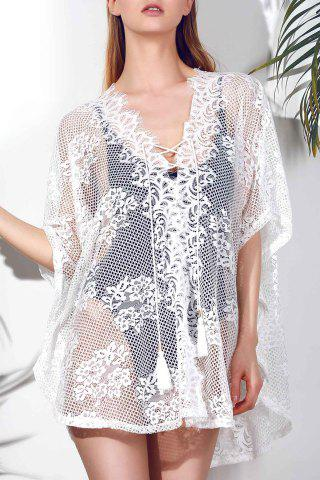 Fashion Sexy Plunging Neck Hollow Out Women's White Cover-Up