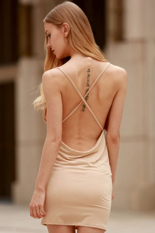 Online Spaghetti Strap Backless Club Bodycon Skimpy Dress