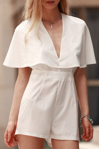 Fancy Stylish Plunging Neck Bat-Wing Sleeve Solid Color Women's Romper