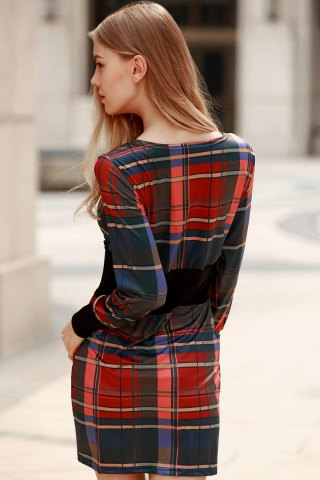 Store Stylish Round Collar Long Sleeve Waisted Checked Dress For Women - M RED Mobile